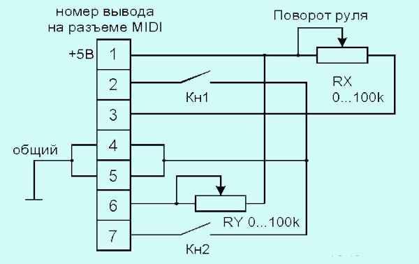Принципиальная схема самодельного руля для компьютера