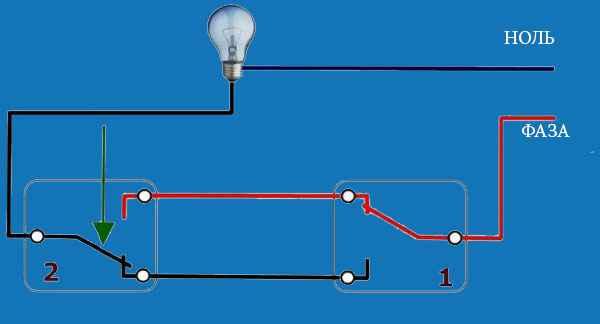 Проходной выключатель и схема его подключения