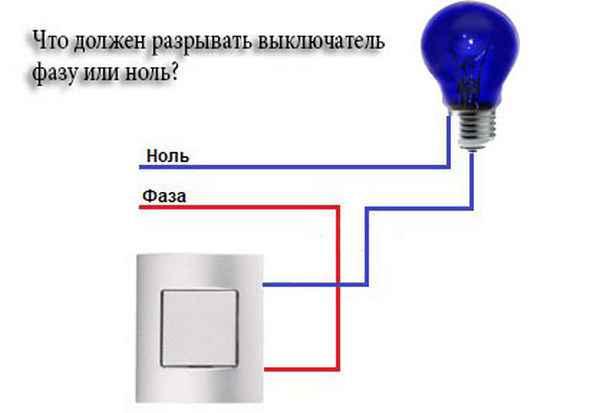 Какой провод должен размыкать выключатель: фазу или ноль